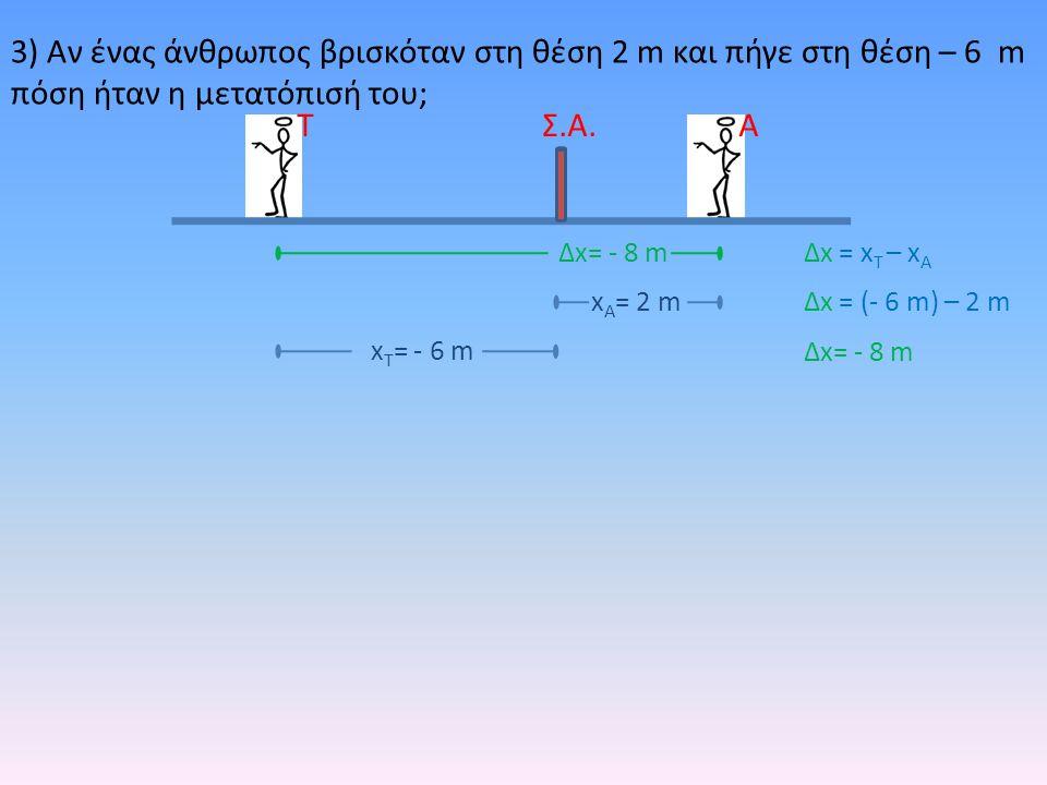 3) Αν ένας άνθρωπος βρισκόταν στη θέση 2 m και πήγε στη θέση – 6 m πόση ήταν η μετατόπισή του; ΑΤ Δx= - 8 m Σ.Α. x Τ = - 6 m x Α = 2 m Δx = x T – x A
