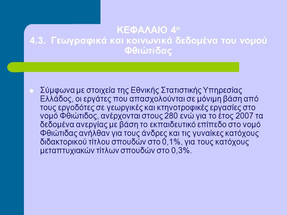 ΚΕΦΑΛΑΙΟ 4 ο 4.3. Γεωγραφικά και κοινωνικά δεδομένα του νομού Φθιώτιδας Σύμφωνα με στοιχεία της Εθνικής Στατιστικής Υπηρεσίας Ελλάδος, οι εργάτες που