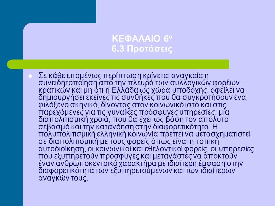 ΚΕΦΑΛΑΙΟ 6 ο 6.3 Προτάσεις Σε κάθε επομένως περίπτωση κρίνεται αναγκαία η συνειδητοποίηση από την πλευρά των συλλογικών φορέων κρατικών και μη ότι η Ε
