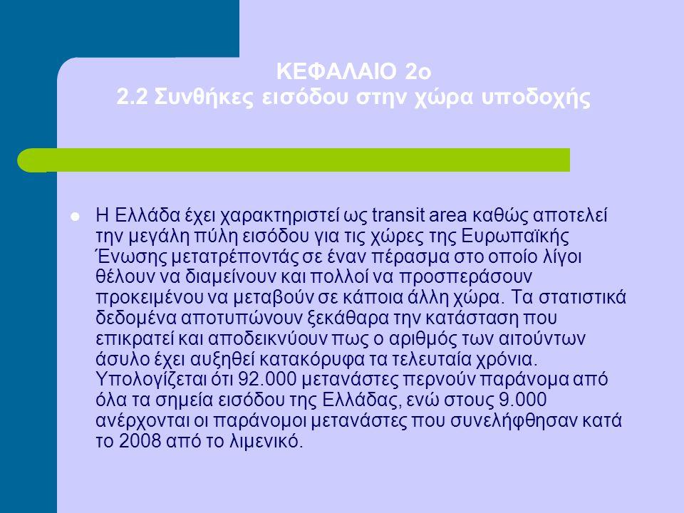 ΚΕΦΑΛΑΙΟ 2ο 2.2 Συνθήκες εισόδου στην χώρα υποδοχής Η Ελλάδα έχει χαρακτηριστεί ως transit area καθώς αποτελεί την μεγάλη πύλη εισόδου για τις χώρες τ