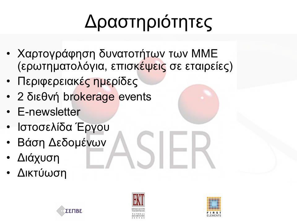 Δραστηριότητες Χαρτογράφηση δυνατοτήτων των ΜΜΕ (ερωτηματολόγια, επισκέψεις σε εταιρείες) Περιφερειακές ημερίδες 2 διεθνή brokerage events E-newsletter Ιστοσελίδα Έργου Βάση Δεδομένων Διάχυση Δικτύωση