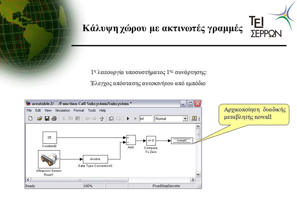 Κάλυψη χώρου με ακτινωτές γραμμές 1 η λειτουργία υποσυστήματος 1 ης συνάρτησης: Έλεγχος απόστασης αυτοκινήτου από εμπόδιο Αρχικοποίηση δυαδικής μεταβλ