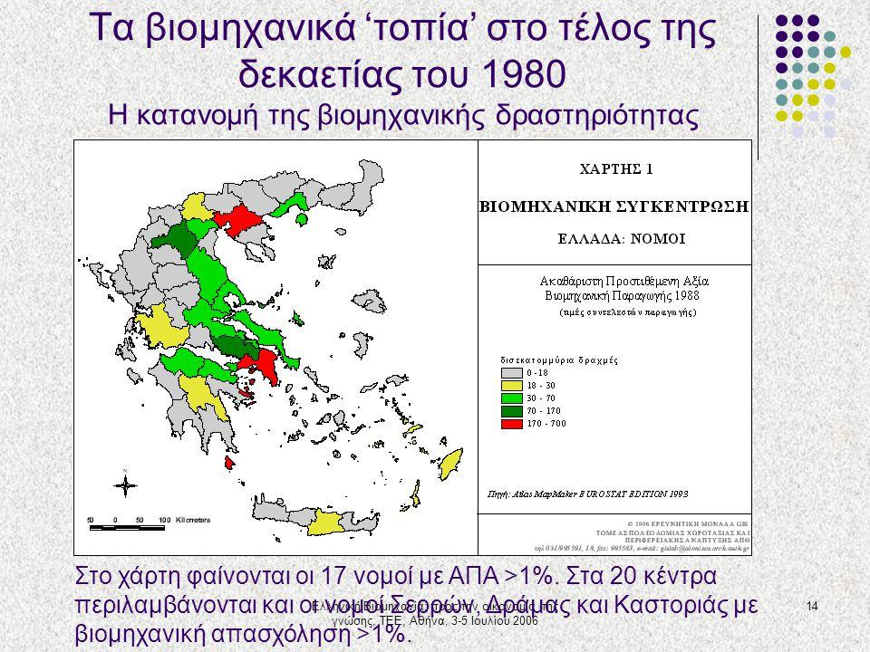 Ελληνική Βιομηχανία: προς την οικονομία της γνώσης, ΤΕΕ, Αθήνα, 3-5 Ιουλίου 2006 14 Τα βιομηχανικά 'τοπία' στο τέλος της δεκαετίας του 1980 Η κατανομή