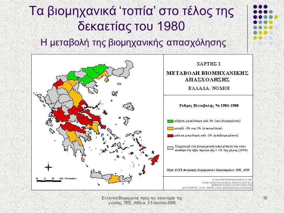 Ελληνική Βιομηχανία: προς την οικονομία της γνώσης, ΤΕΕ, Αθήνα, 3-5 Ιουλίου 2006 16 Τα βιομηχανικά 'τοπία' στο τέλος της δεκαετίας του 1980 Η μεταβολή