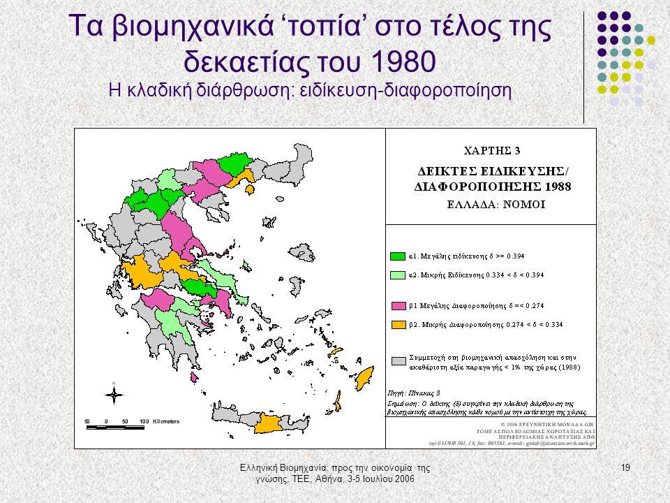 Ελληνική Βιομηχανία: προς την οικονομία της γνώσης, ΤΕΕ, Αθήνα, 3-5 Ιουλίου 2006 19 Τα βιομηχανικά 'τοπία' στο τέλος της δεκαετίας του 1980 Η κλαδική
