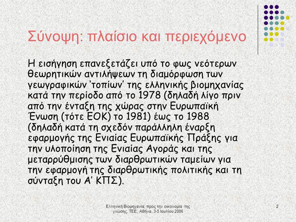 Ελληνική Βιομηχανία: προς την οικονομία της γνώσης, ΤΕΕ, Αθήνα, 3-5 Ιουλίου 2006 2 Σύνοψη: πλαίσιο και περιεχόμενο Η εισήγηση επανεξετάζει υπό το φως