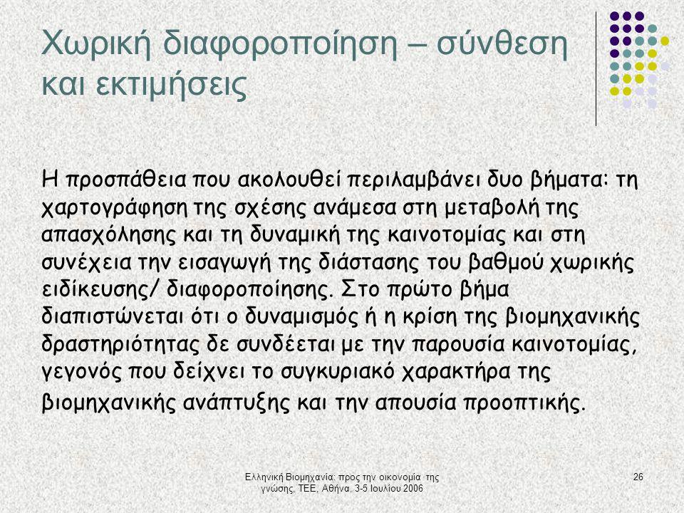 Ελληνική Βιομηχανία: προς την οικονομία της γνώσης, ΤΕΕ, Αθήνα, 3-5 Ιουλίου 2006 26 Χωρική διαφοροποίηση – σύνθεση και εκτιμήσεις Η προσπάθεια που ακο