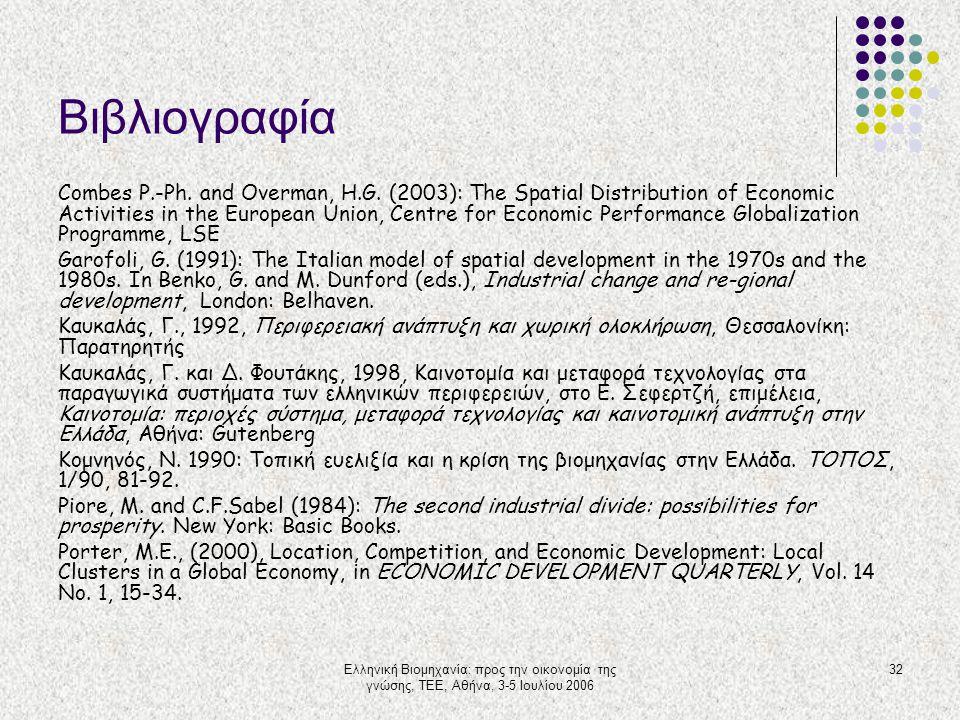 Ελληνική Βιομηχανία: προς την οικονομία της γνώσης, ΤΕΕ, Αθήνα, 3-5 Ιουλίου 2006 32 Βιβλιογραφία Combes P.-Ph. and Overman, H.G. (2003): The Spatial D