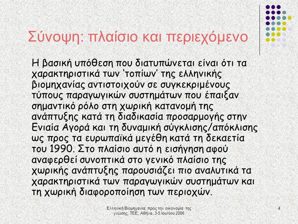 Ελληνική Βιομηχανία: προς την οικονομία της γνώσης, ΤΕΕ, Αθήνα, 3-5 Ιουλίου 2006 4 Σύνοψη: πλαίσιο και περιεχόμενο Η βασική υπόθεση που διατυπώνεται ε
