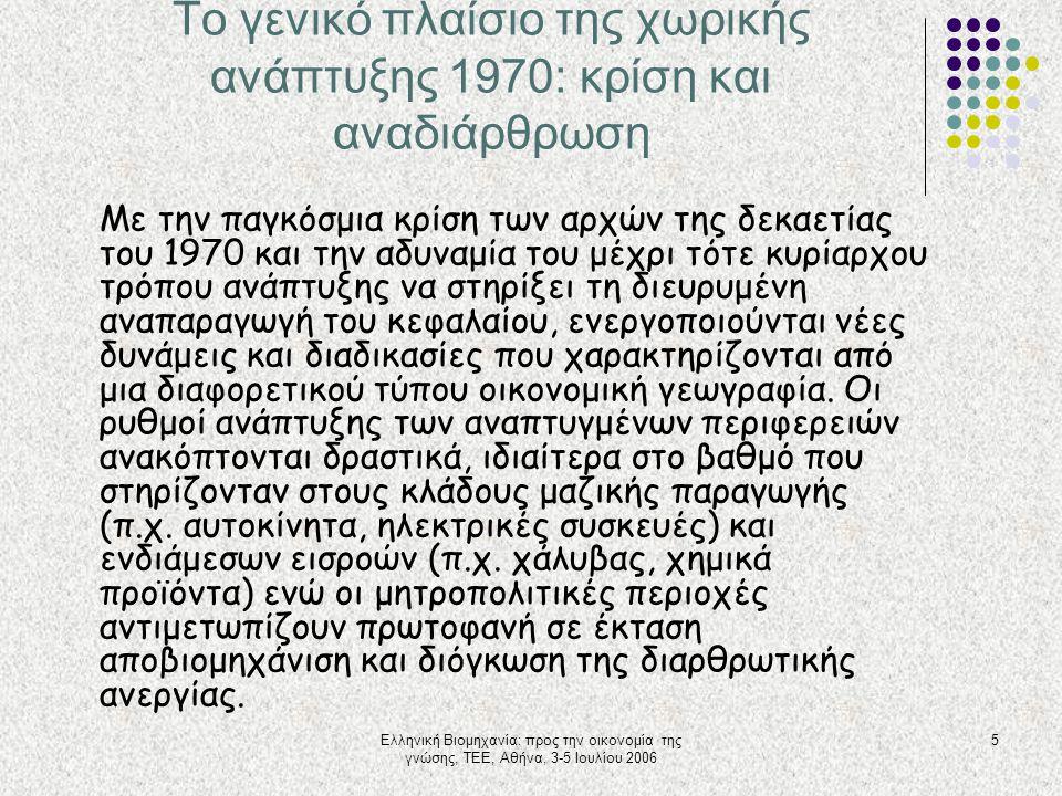 Ελληνική Βιομηχανία: προς την οικονομία της γνώσης, ΤΕΕ, Αθήνα, 3-5 Ιουλίου 2006 5 Το γενικό πλαίσιο της χωρικής ανάπτυξης 1970: κρίση και αναδιάρθρωσ