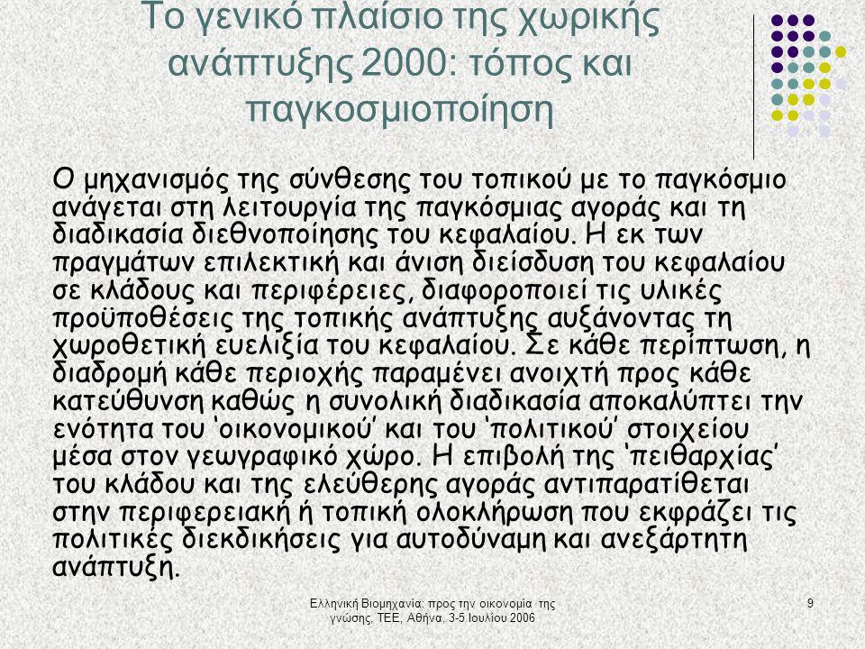 Ελληνική Βιομηχανία: προς την οικονομία της γνώσης, ΤΕΕ, Αθήνα, 3-5 Ιουλίου 2006 9 Το γενικό πλαίσιο της χωρικής ανάπτυξης 2000: τόπος και παγκοσμιοπο