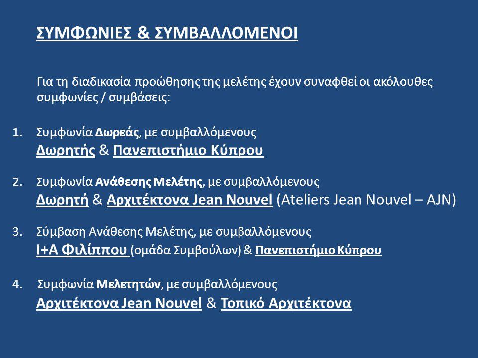 ΣΥΜΦΩΝΙΕΣ & ΣΥΜΒΑΛΛΟΜΕΝΟΙ Για τη διαδικασία προώθησης της μελέτης έχουν συναφθεί οι ακόλουθες συμφωνίες / συμβάσεις: 1.Συμφωνία Δωρεάς, με συμβαλλόμεν