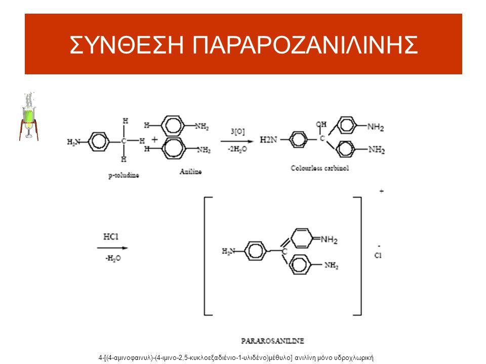 ΣΥΝΘΕΣΗ ΠΑΡΑΡΟΖΑΝΙΛΙΝΗΣ 4-[(4-αμινοφαινυλ)-(4-ιμινο-2,5-κυκλοεξαδιένιο-1-υλιδένο)μέθυλο] ανιλίνη μόνο υδροχλωρική