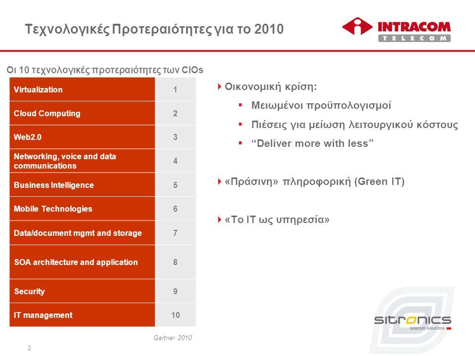 """2 Τεχνολογικές Προτεραιότητες για το 2010  Οικονομική κρίση:  Μειωμένοι προϋπολογισμοί  Πιέσεις για μείωση λειτουργικού κόστους  """"Deliver more wit"""