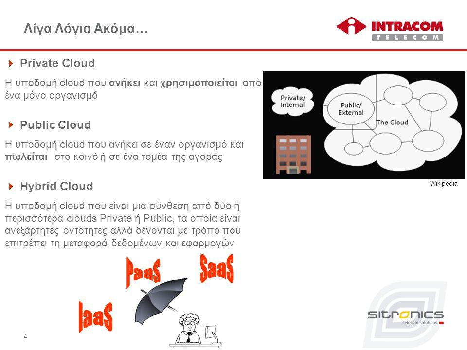 4 Λίγα Λόγια Ακόμα…  Private Cloud Η υποδομή cloud που ανήκει και χρησιμοποιείται από ένα μόνο οργανισμό  Public Cloud H υποδομή cloud που ανήκει σε έναν οργανισμό και πωλείται στο κοινό ή σε ένα τομέα της αγοράς  Hybrid Cloud H υποδομή cloud που είναι μια σύνθεση από δύο ή περισσότερα clouds Private ή Public, τα οποία είναι ανεξάρτητες οντότητες αλλά δένονται με τρόπο που επιτρέπει τη μεταφορά δεδομένων και εφαρμογών  Wikipedia