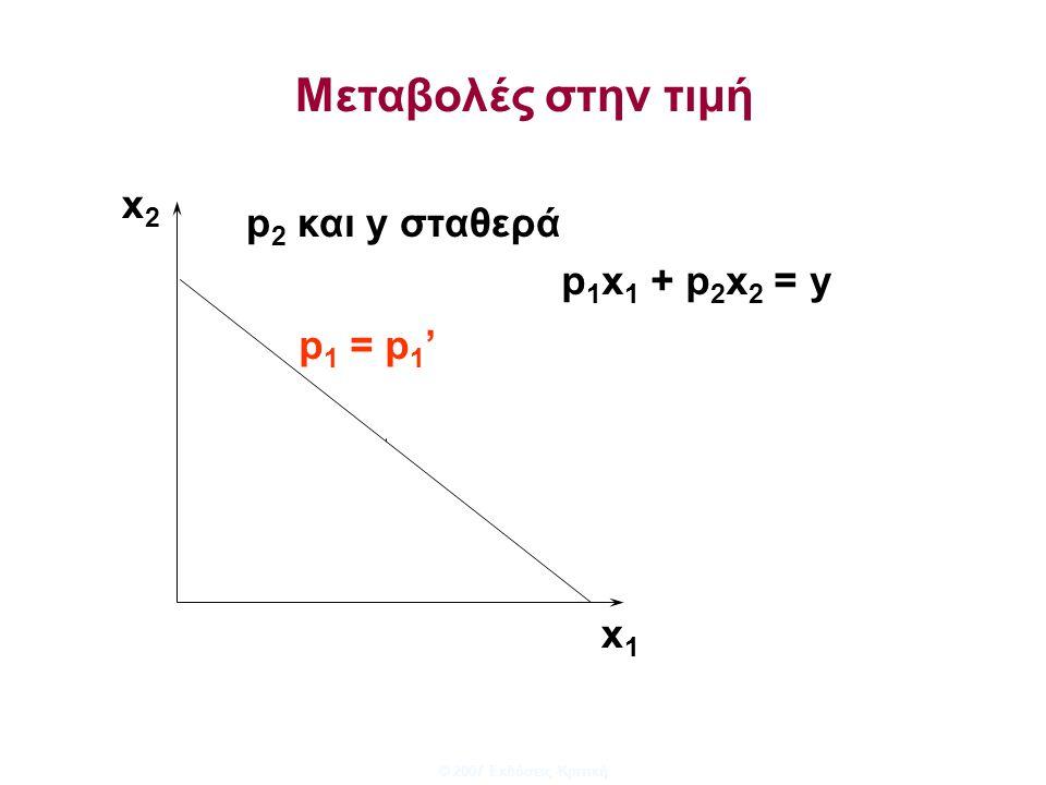 © 2007 Εκδόσεις Κριτική x1x1 x2x2 p 1 = p 1 ' p 2 και y σταθερά p 1 x 1 + p 2 x 2 = y Μεταβολές στην τιμή