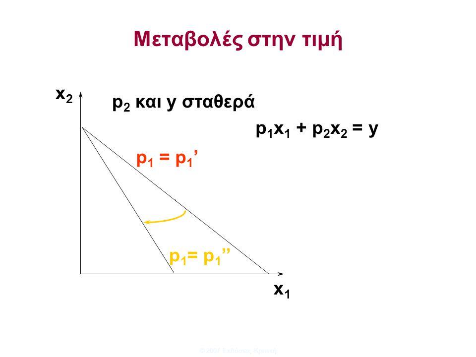 © 2007 Εκδόσεις Κριτική Μεταβολές στην τιμή x1x1 x2x2 p 1 = p 1 '' p 1 = p 1 ' p 2 και y σταθερά p 1 x 1 + p 2 x 2 = y