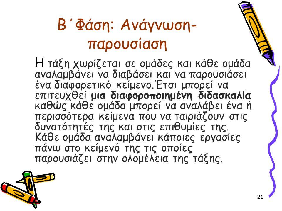 Β΄Φάση: Ανάγνωση- παρουσίαση Η τάξη χωρίζεται σε ομάδες και κάθε ομάδα αναλαμβάνει να διαβάσει και να παρουσιάσει ένα διαφορετικό κείμενο.Έτσι μπορεί
