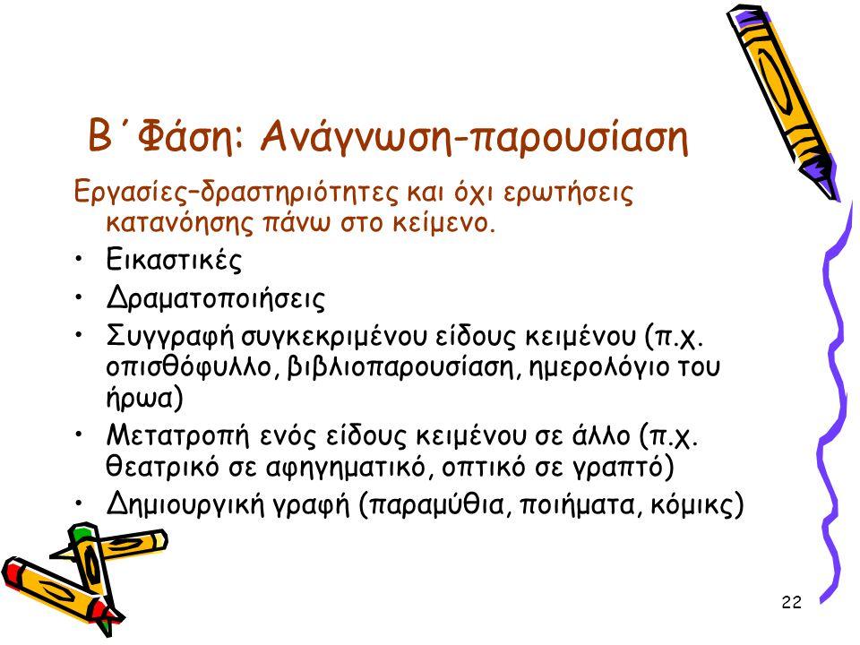Β΄Φάση: Ανάγνωση-παρουσίαση Εργασίες–δραστηριότητες και όχι ερωτήσεις κατανόησης πάνω στο κείμενο.