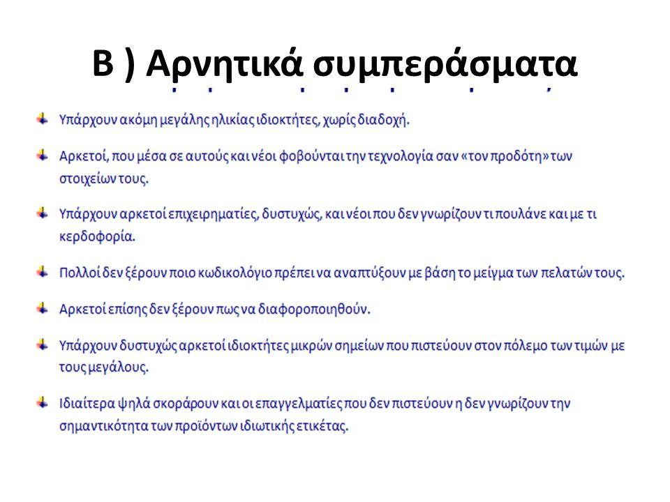 Β ) Αρνητικά συμπεράσματα