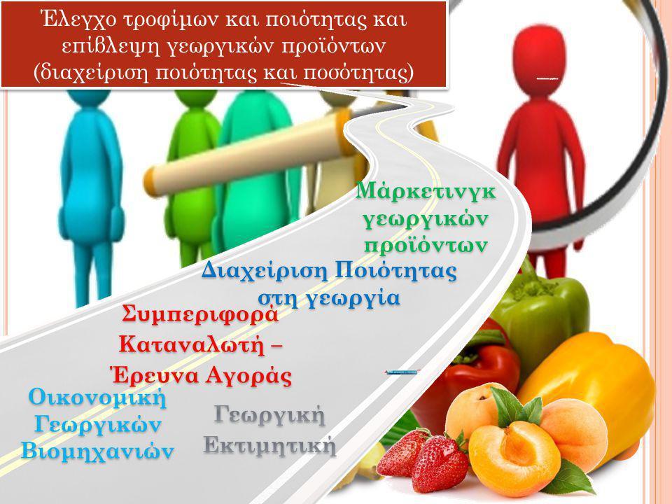 Έλεγχο τροφίμων και ποιότητας και επίβλεψη γεωργικών προϊόντων (διαχείριση ποιότητας και ποσότητας) Διαχείριση Ποιότητας στη γεωργία Οικονομική Γεωργικών Βιομηχανιών Συμπεριφορά Καταναλωτή – Έρευνα Αγοράς Μάρκετινγκ γεωργικών προϊόντων