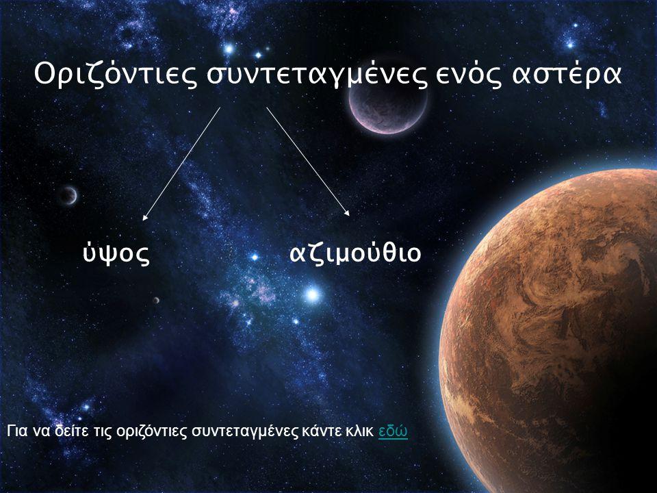 Οριζόντιες συντεταγμένες ενός αστέρα ύψοςαζιμούθιο Για να δείτε τις οριζόντιες συντεταγμένες κάντε κλικ εδώεδώ