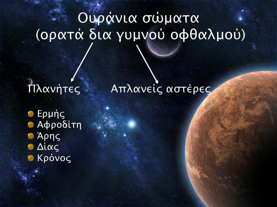 Ουράνια σώματα (ορατά δια γυμνού οφθαλμού) Πλανήτες Ερμής Αφροδίτη Άρης Δίας Κρόνος Απλανείς αστέρες