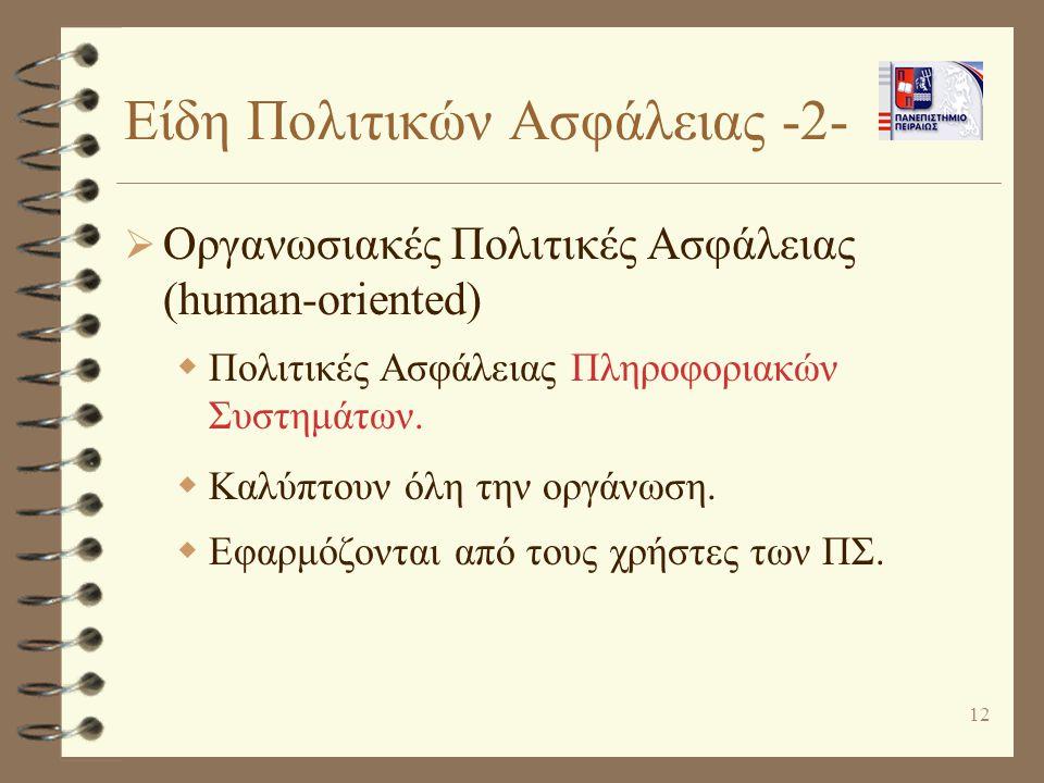 12 Είδη Πολιτικών Ασφάλειας -2-  Οργανωσιακές Πολιτικές Ασφάλειας (human-oriented)  Πολιτικές Ασφάλειας Πληροφοριακών Συστημάτων.