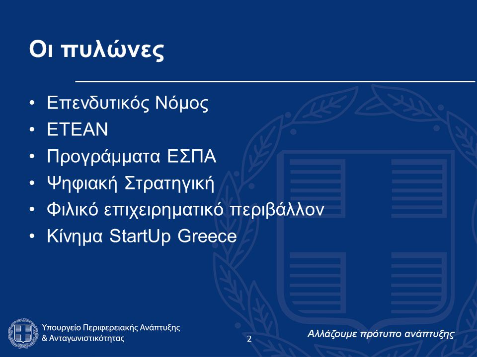 Αλλάζουμε πρότυπο ανάπτυξης Ποιοι Είμαστε Μια πρωτοβουλία του Υπουργείου Περιφερειακής Ανάπτυξης & Ανταγωνιστικότητας Με τη στήριξη της Ελληνικής Κυβέρνησης, του Υπουργείου Παιδείας, του Ινστιτούτου Νεολαίας, του Εθνικού Κέντρου Τεκμηρίωσης, του Corallia, της Μονάδας Επιχειρηματικότητας και Καινοτομίας του Οικονομικού Πανεπιστημίου Αθηνών, του Ελληνο- Αμερικανικού Εμπορικού Επιμελητηρίου Συγκεντρώνουμε και εμπλέκουμε δυναμικά στην ίδια πλατφόρμα νέους και νέους επιχειρηματίες, start-ups και καθιερωμένες επιχειρήσεις, δημόσιους και ιδιωτικούς φορείς που σχετίζονται με το επιχειρείν και την καινοτομία Η πρόσκληση για συμμετοχή είναι ανοιχτή σε όλους