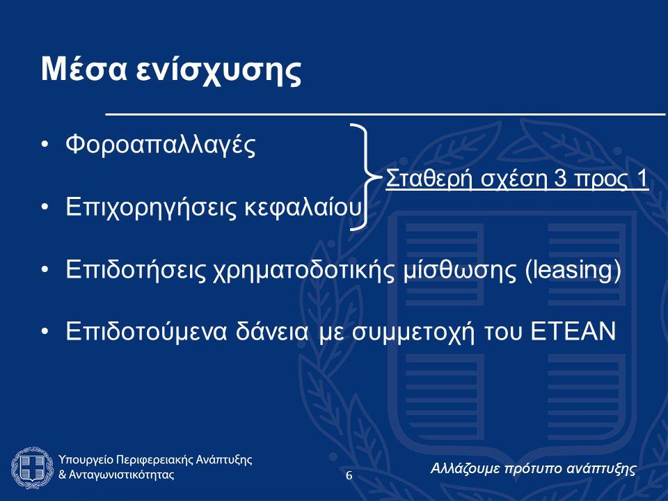 Αλλάζουμε πρότυπο ανάπτυξης 6 Μέσα ενίσχυσης Φοροαπαλλαγές Επιχορηγήσεις κεφαλαίου Επιδοτήσεις χρηματοδοτικής μίσθωσης (leasing) Επιδοτούμενα δάνεια με συμμετοχή του ΕΤΕΑΝ Σταθερή σχέση 3 προς 1