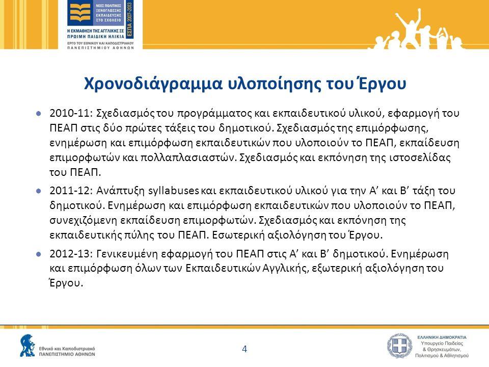 Χρονοδιάγραμμα υλοποίησης του Έργου ● 2010-11: Σχεδιασμός του προγράμματος και εκπαιδευτικού υλικού, εφαρμογή του ΠΕΑΠ στις δύο πρώτες τάξεις του δημοτικού.