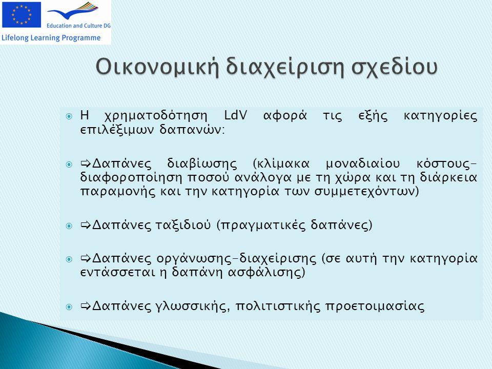 Οικονομική διαχείριση σχεδίου  Η χρηματοδότηση LdV αφορά τις εξής κατηγορίες επιλέξιμων δαπανών:   Δαπάνες διαβίωσης (κλίμακα μοναδιαίου κόστους- διαφοροποίηση ποσού ανάλογα με τη χώρα και τη διάρκεια παραμονής και την κατηγορία των συμμετεχόντων)   Δαπάνες ταξιδιού (πραγματικές δαπάνες)   Δαπάνες οργάνωσης-διαχείρισης (σε αυτή την κατηγορία εντάσσεται η δαπάνη ασφάλισης)   Δαπάνες γλωσσικής, πολιτιστικής προετοιμασίας