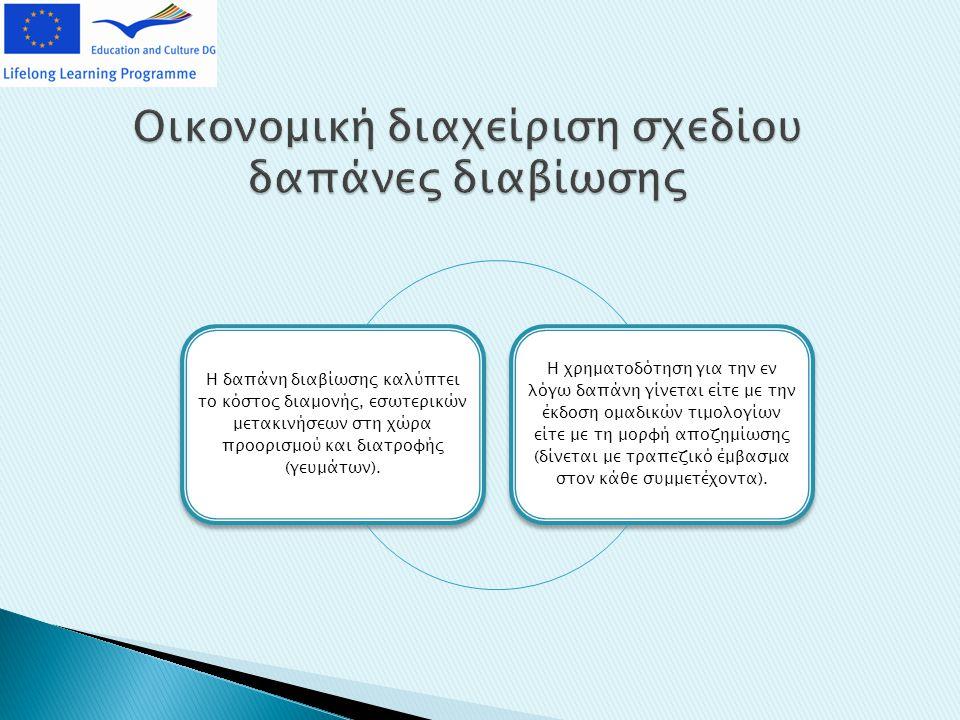 Οικονομική διαχείριση σχεδίου δαπάνες διαβίωσης Η δαπάνη διαβίωσης καλύπτει το κόστος διαμονής, εσωτερικών μετακινήσεων στη χώρα προορισμού και διατροφής (γευμάτων).