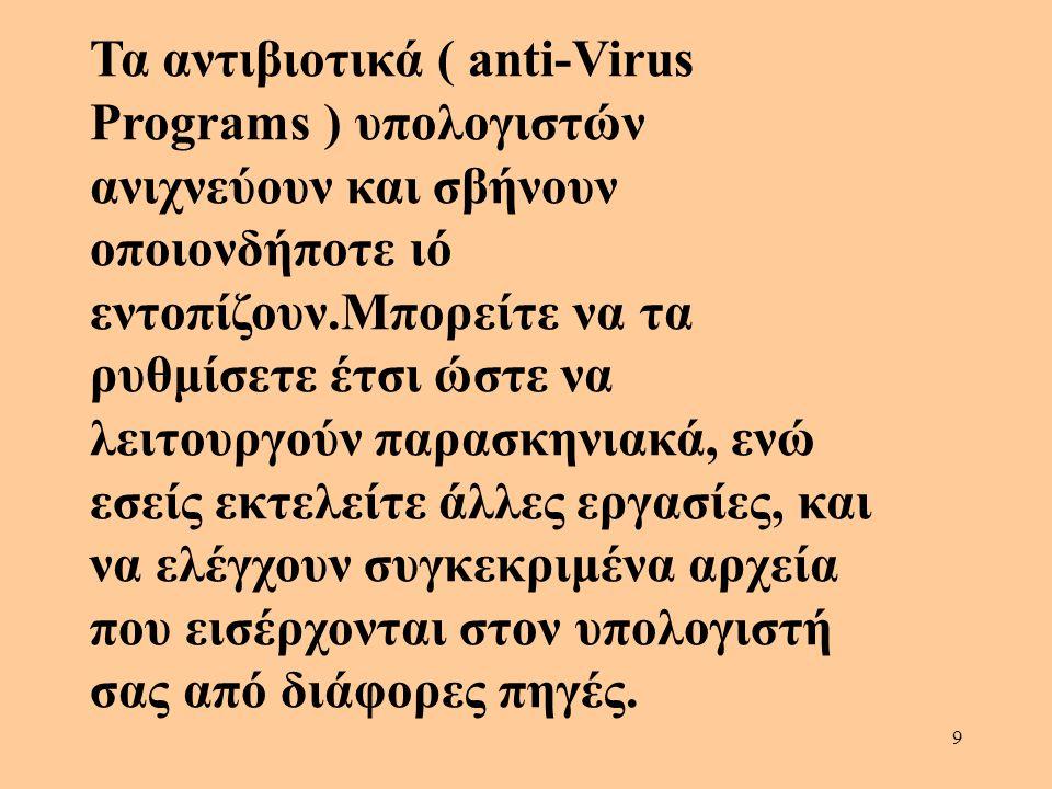 9 Τα αντιβιοτικά ( anti-Virus Programs ) υπολογιστών ανιχνεύουν και σβήνουν οποιονδήποτε ιό εντοπίζουν.Μπορείτε να τα ρυθμίσετε έτσι ώστε να λειτουργο