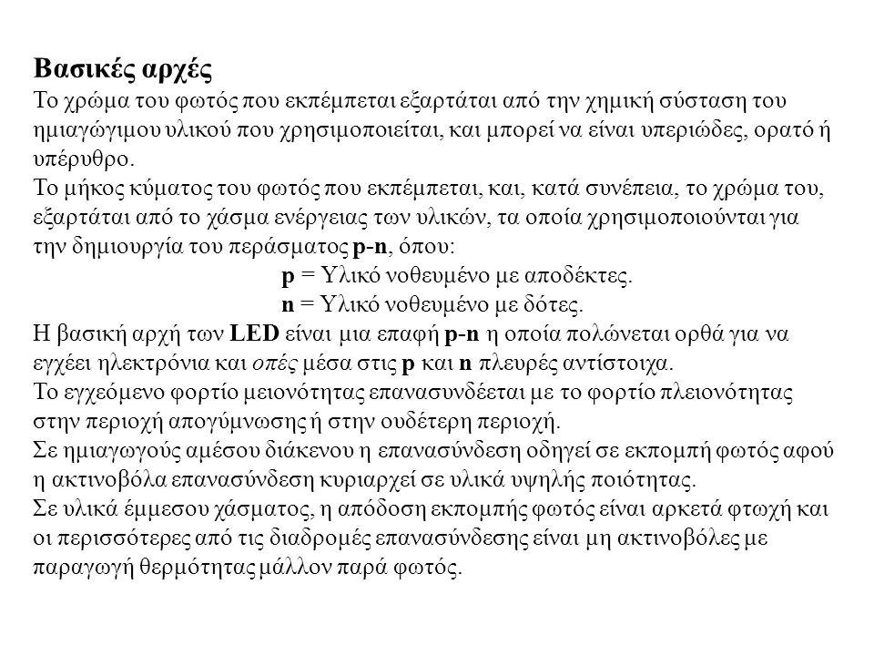 Βασικές αρχές Το χρώμα του φωτός που εκπέμπεται εξαρτάται από την χημική σύσταση του ημιαγώγιμου υλικού που χρησιμοποιείται, και μπορεί να είναι υπερι