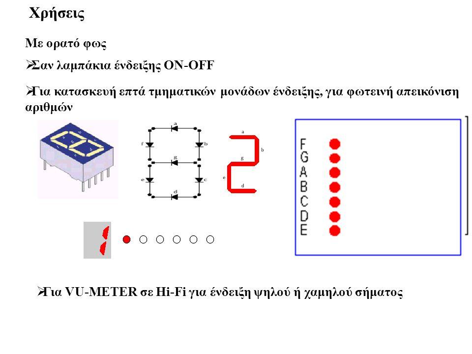  Για κατασκευή επτά τμηματικών μονάδων ένδειξης, για φωτεινή απεικόνιση αριθμών Χρήσεις Με ορατό φως  Σαν λαμπάκια ένδειξης ON-OFF  Για VU-METER σε