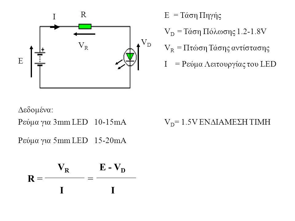 Ε Ι VRVR VDVD V D = Τάση Πόλωσης 1.2-1.8V R R = VRVR I Δεδομένα: Ρεύμα για 3mm LED 10-15mA Ρεύμα για 5mm LED 15-20mA = E - VDE - VD I Ι = Ρεύμα Λειτου