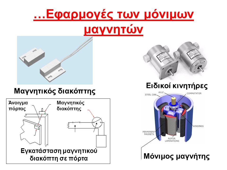 Μαγνητικός διακόπτης …Εφαρμογές των μόνιμων μαγνητών Ειδικοί κινητήρες Μόνιμος μαγνήτης Μαγνητικός διακόπτης Εγκατάσταση μαγνητικού διακόπτη σε πόρτα