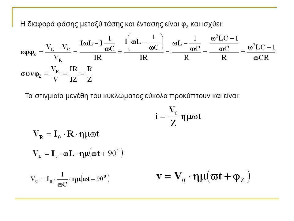 Η διαφορά φάσης μεταξύ τάσης και έντασης είναι φ z και ισχύει: Τα στιγμιαία μεγέθη του κυκλώματος εύκολα προκύπτουν και είναι: