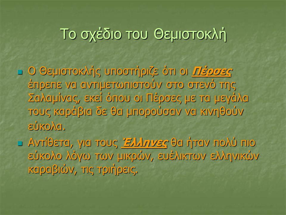 Το σχέδιο του Θεμιστοκλή Ο Θεμιστοκλής υποστήριζε ότι οι Πέρσες έπρεπε να αντιμετωπιστούν στο στενό της Σαλαμίνας, εκεί όπου οι Πέρσες με τα μεγάλα τους καράβια δε θα μπορούσαν να κινηθούν εύκολα.