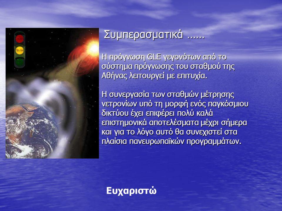 Συμπερασματικά …… Ευχαριστώ Η πρόγνωση GLE γεγονότων από το σύστημα πρόγνωσης του σταθμού της Αθήνας λειτουργεί με επιτυχία.