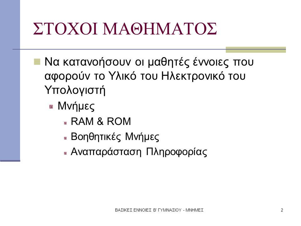 ΒΑΣΙΚΕΣ ΕΝΝΟΙΕΣ Β ΓΥΜΝΑΣΙΟΥ - ΜΝΗΜΕΣ3 Το εσωτερικό του Η/Υ ΚΜΕ (CPU) ΒΟΗΘΗΤΙΚΗ ΜΝΗΜΗ ΚΕΝΤΡΙΚΗ ΜΝΗΜΗ (RAM) ΜΟΝΑΔΑ ΕΞΟΔΟΥ ΜΟΝΑΔΑ ΕΛΕΓΧΟΥ ΜΟΝΑΔΑ ΕΙΣΟΔΟΥ ΑΛΜ (ALU) ΚΑΤΑΧΩΡΗΤΕΣ
