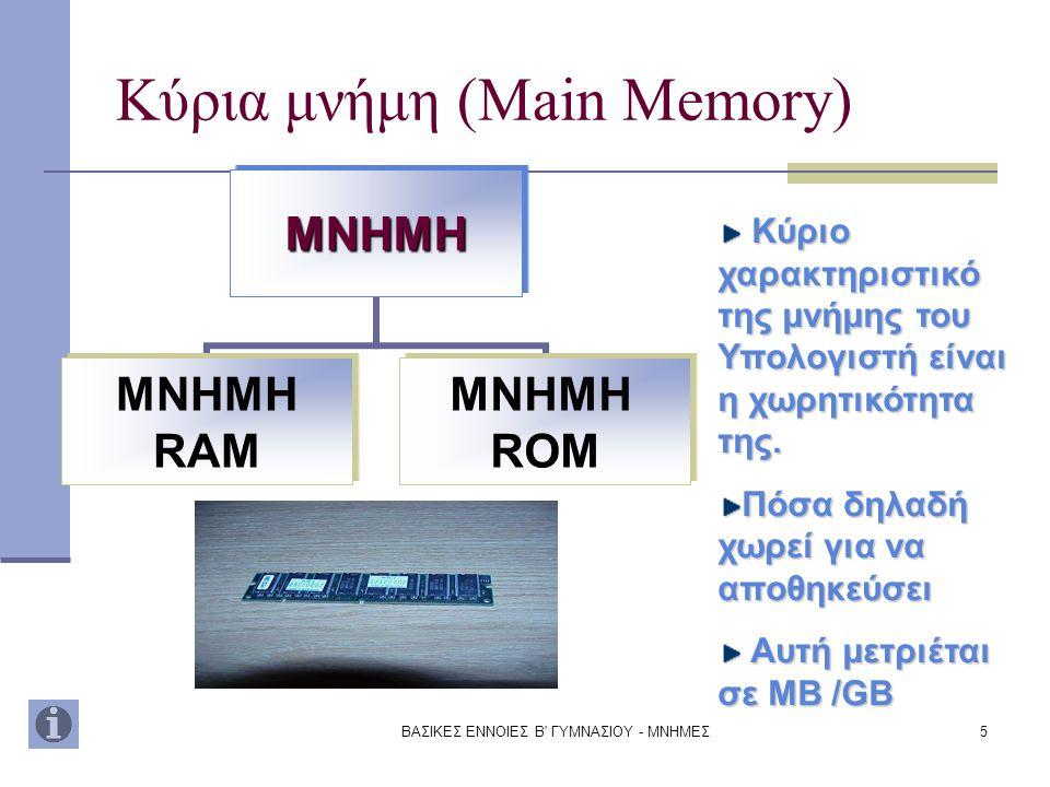 ΒΑΣΙΚΕΣ ΕΝΝΟΙΕΣ Β ΓΥΜΝΑΣΙΟΥ - ΜΝΗΜΕΣ6 RAMRAM Μνήμη RAM (Random Access Memory) Η μνήμη Ram είναι η κυρίως μνήμη του Υπολογιστή και βρίσκεται πάνω στη μητρική πλακέτα.