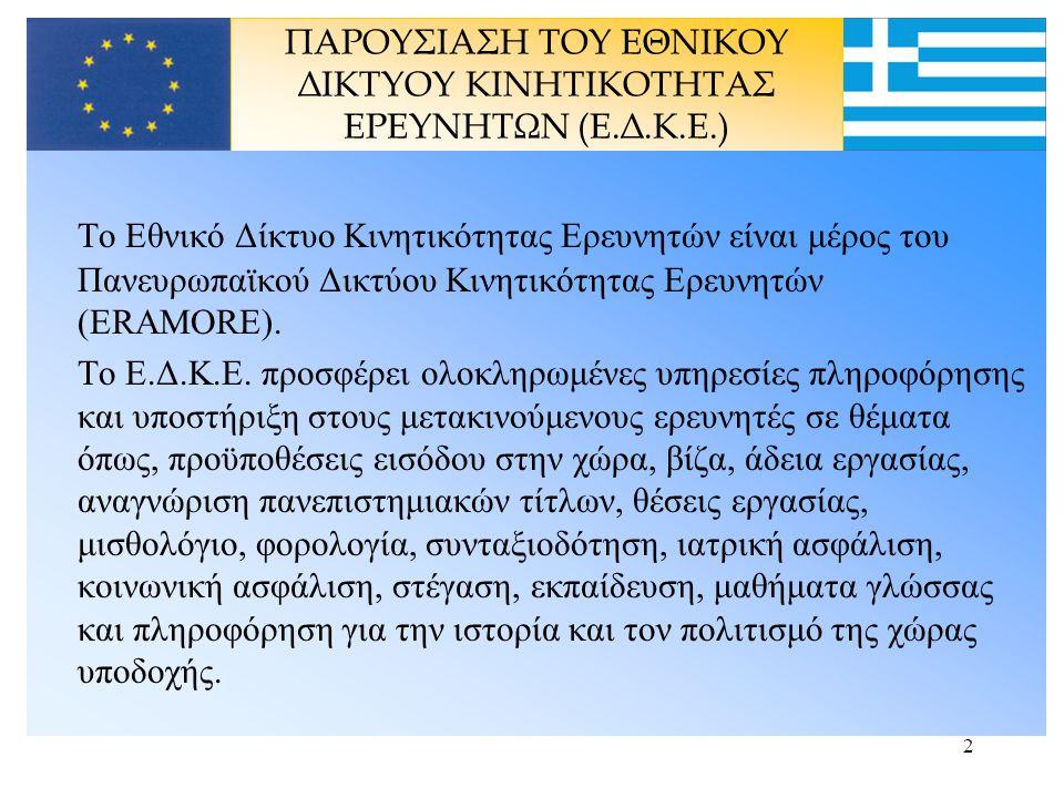 3 Σύντομο Ιστορικό της Ανάπτυξης του Ελληνικού Δικτύου των Κέντρων Κινητικότητας ΜΑΡΤΙΟΣ 2000: Το ΕΚΕΤΑ (Εθνικό Κέντρο Έρευνας και Τεχνολογικής Ανάπτυξης) συμμετέχει στην Ελληνική αντιπροσωπεία στην 1 η Συνάντηση της Επιτροπής Ελέγχου της ΕΕ για την Κινητικότητα των Ερευνητώνof και είναι ο συντονιστής του Ελληνικού Δικτύου Κινητικότητας (Bridgehead Organization) ΙΟΥΝΙΟΣ - ΣΕΠΤΕΜΒΡΙΟΣ 2002: Άσκηση Χάρτου για την εξακρίβωση των Πυλών που θα συνδεθούν στην Ευρωπαϊκή Πύλη Κινητικότητας ΣΕΠΤΕΜΒΡΙΟΣ 2002: Το ΕΚΕΤΑ καθορίζεται από την ΓΓΕΤ ως Bridgehead Organization του Ελληνικού Δικτύου των Κέντρων Κινητικότητας ΔΕΚΕΜΒΡΙΟΣ 2002 – ΑΠΡΙΛΙΟΣ 2003: Άσκηση Χάρτου για την εξακρίβωση των μελών που θα απαρτίζουν το Εθνικό Δίκτυο ΜΑΪΟΣ 2003: Ιδρύεται το Ελληνικό Εθνικό Δίκτυο ΙΟΥΝΙΟΣ 2003: Υποβολή της πρότασης του Έργου ΠΥΘΕΑΣ από το ΕΚΕΤΑ για την χρηματοδότηση του Εθνικού Δικτύου από την Ευρωπαϊκή Επιτροπή ΑΥΓΟΥΣΤΟΣ 28, 2003: Η πρόταση του Έργου PYTHEAS εγκρίνεται ΣΕΠΤΕΜΒΡΙΟΣ 2003: Έναρξη διαδικασιών για την διαπραγμάτευση με την Ευρωπαϊκή Επιτροπή ΣΕΠΤΕΜΒΡΙΟΣ 30, 2003: - Εναρκτήρια συνάντηση του Εθνικού Δικτύου και παρουσίαση του πρώτου πρόχειρου πρωτοτύπου ΔΕΚΕΜΒΡΙΟΣ 05, 2003: Υπογράφεται η σύμβαση του Έργου PYTHEAS με την EE ΙΣΤΟΡΙΚΟ
