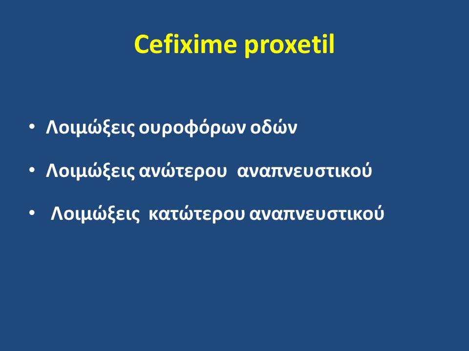 Cefixime proxetil Λοιμώξεις ουροφόρων οδών Λοιμώξεις ανώτερου αναπνευστικού Λοιμώξεις κατώτερου αναπνευστικού