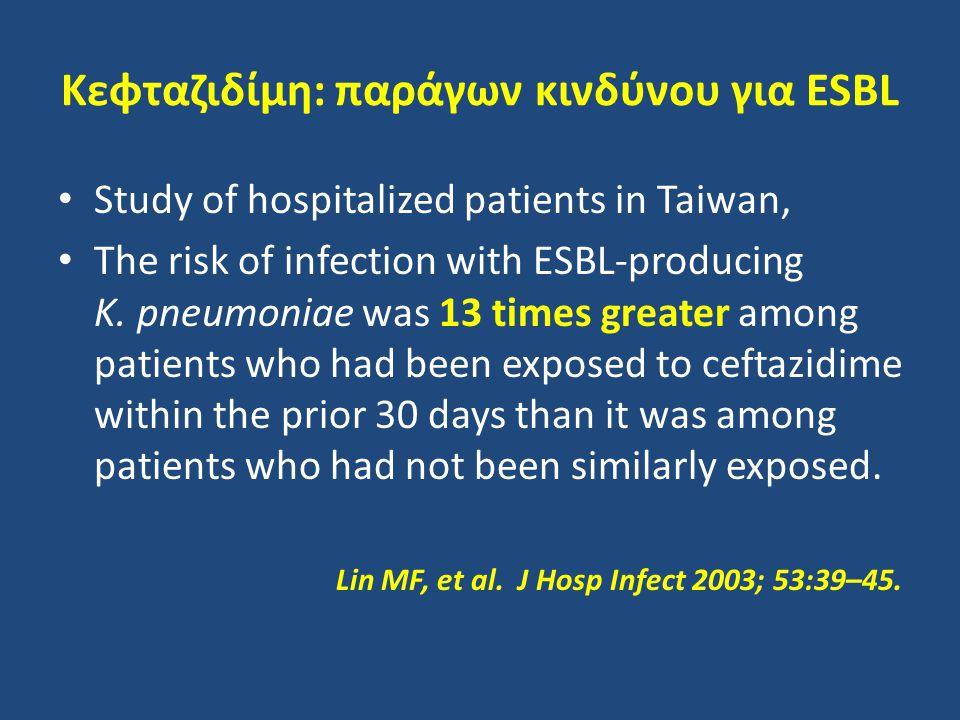 Κεφταζιδίμη: παράγων κινδύνου για ESBL Study of hospitalized patients in Taiwan, The risk of infection with ESBL-producing K. pneumoniae was 13 times