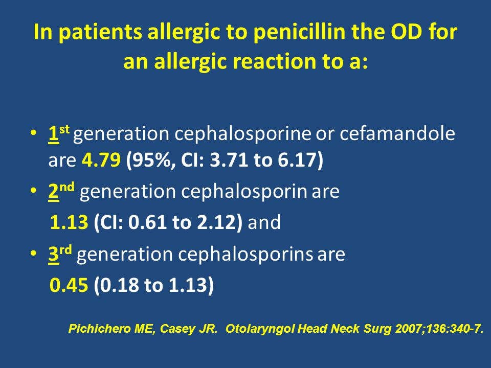 In patients allergic to penicillin the OD for an allergic reaction to a: 1 st generation cephalosporine or cefamandole are 4.79 (95%, CI: 3.71 to 6.17