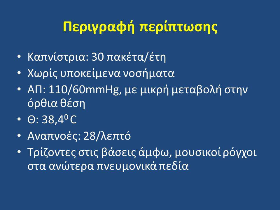 Περιγραφή περίπτωσης Καπνίστρια: 30 πακέτα/έτη Χωρίς υποκείμενα νοσήματα ΑΠ: 110/60mmHg, με μικρή μεταβολή στην όρθια θέση Θ: 38,4 0 C Αναπνοές: 28/λε