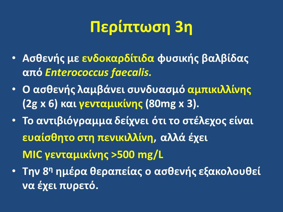 Περίπτωση 3η Ασθενής με ενδοκαρδίτιδα φυσικής βαλβίδας από Enterococcus faecalis. Ο ασθενής λαμβάνει συνδυασμό αμπικιλλίνης (2g x 6) και γενταμικίνης