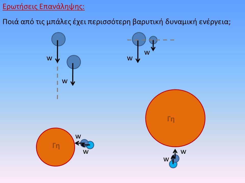 Ερωτήσεις Επανάληψης: Ποιά από τις μπάλες έχει περισσότερη βαρυτική δυναμική ενέργεια; w w w Γη w w w w w